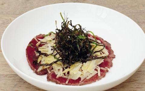 Raw venison, pickled turnip and crisp cavolo nero recipe