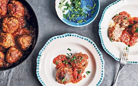 Pork and beef meatballs with plum tomato sauce recipe