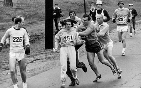 Moment In Time: April 19, 1967 Boston Marathon - Kathrine Switzer attacked by official mid race