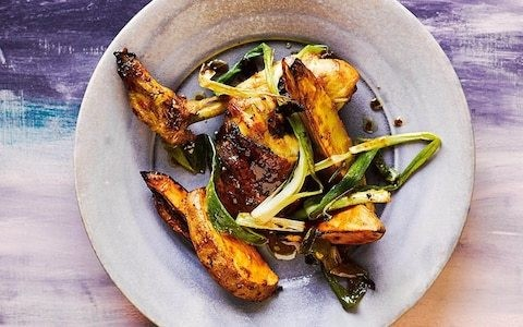 Chicken and sweet potatoes with miso, ginger and spring onions recipe
