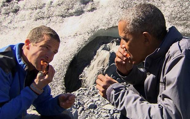 Obama polishes off dinner left by an Alaskan bear