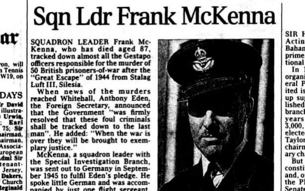 From the archive: Frank McKenna, who tracked down many of the Gestapo officers who murdered escapers from Stalag Luft III – obituary