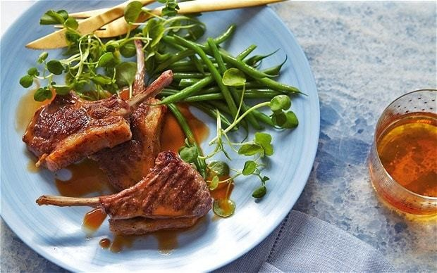 Lamb cutlets with cider, mint and crème-fraîche sauce recipe