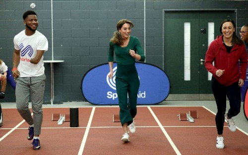 Duchess of Cambridge meets families behind sports stars of the future