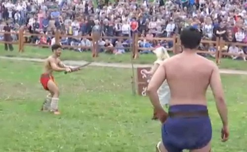 Watch: Romans and barbarians fight in live gladiator reenactment