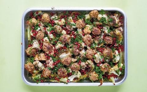 Spiced lamb meatballs with sumac-roasted cauliflower and pomegranate recipe