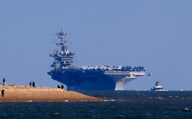 Huge US aircraft carrier too big to dock in Portsmouth