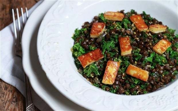 Halloumi, kale and lentils recipe