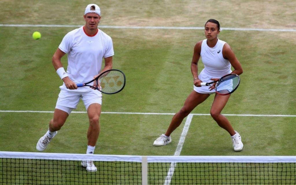 Britain's mixed-doubles pair Evan Hoyt and Eden Silva come from behind to reach Wimbledon quarter-finals