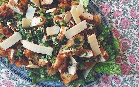 Tonight's dinner: Chicken Caesar salad with anchovy croutons