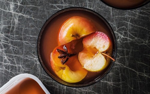 Apples in spiced ginger and star anise syrup