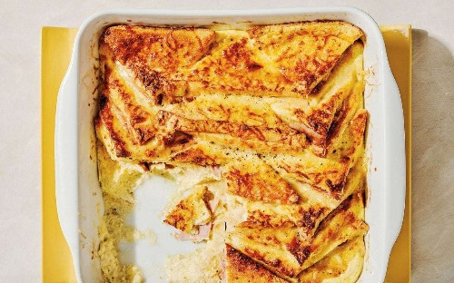 Cheese and ham croque-monsieur bread pudding recipe
