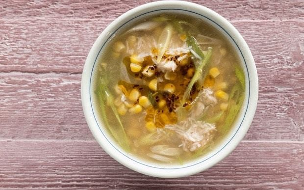 Sweetcorn and crab soup with chilli oil recipe