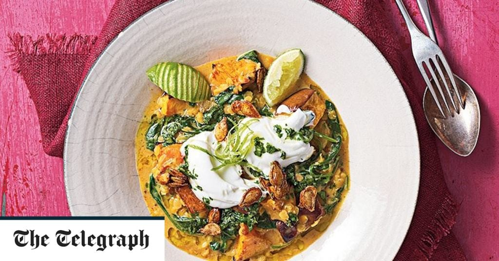 Pumpkin and spinach coconut lentil curry recipe