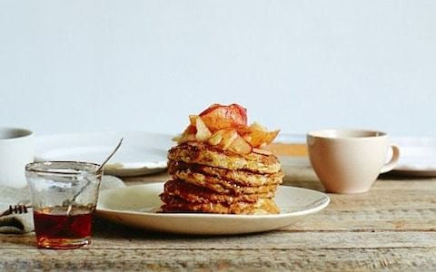 Gluten-free apple and banana oat pancakes recipe