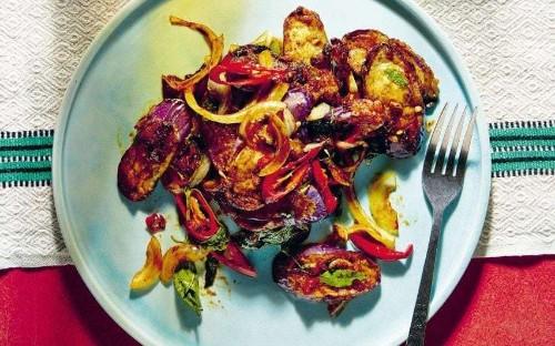 Stir-fried spicy aubergine with sweet basil recipe