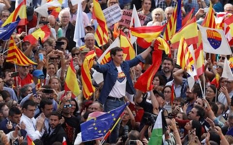 Ciudadanos leader demands Madrid suspend Catalonia's autonomy as pro-Spain protesters take to streets