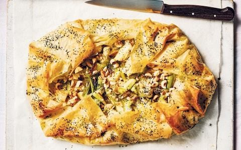 Vegan leek and celeriac filo tart with marjoram recipe