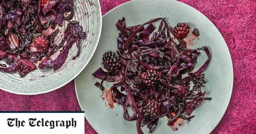 Braised red cabbage with blackberries and star anise recipe