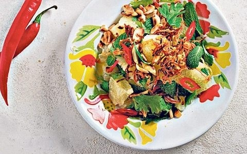 Pomelo and peanut salad with herbs and lime recipe