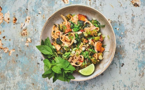 Vegan pad thai with peanut butter and purple sprouting broccoli recipe