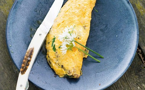 Wild mushroom and foraged greens omelette