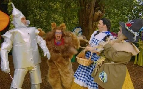 Great British Bake Off judge Prue Leith on crutches after accident during Wizard of Oz skit