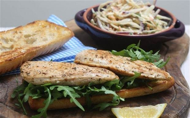 Speedy weeknight suppers: chicken burger with herby tahini slaw