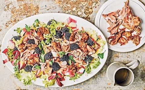 Confit duck leg salad with blackberries and chicory recipe