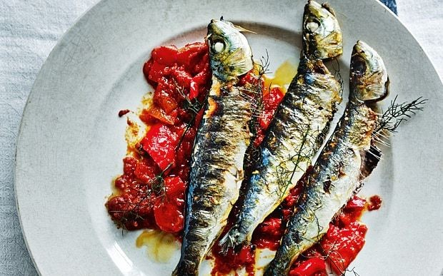 Grilled sardines with fennel and slow-cooked red peppers recipe