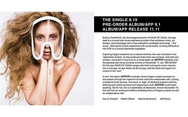 Lady Gaga announces ARTPOP, her new album app release