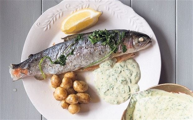 Baked rainbow trout in spinach sauce recipe