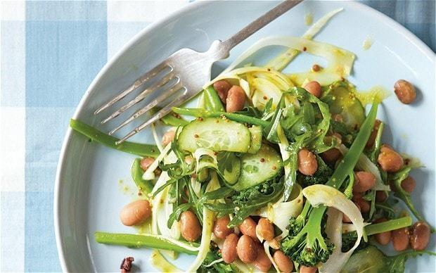 The new vegetarian: borlotti beans, broccoli, fennel and rocket salad