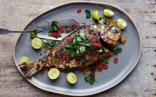 Tandoori pan-fried sea bream with chilli, ginger and coriander