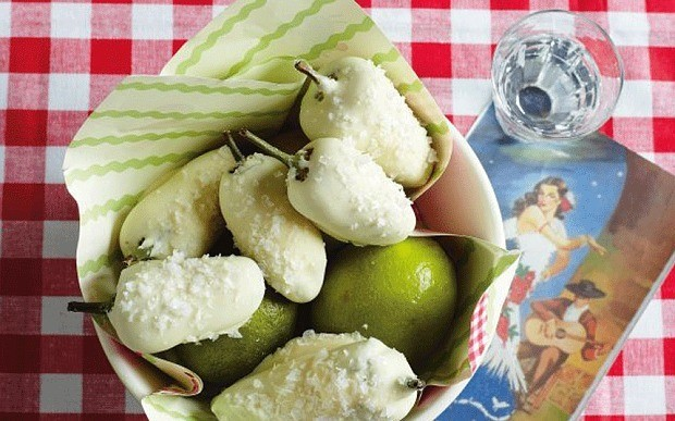 White chocolate covered chillies with tequila