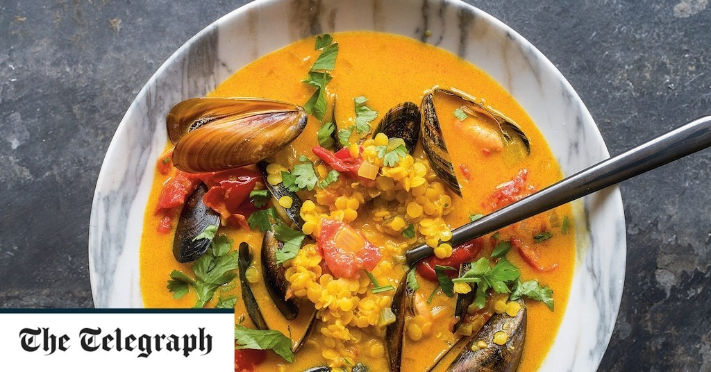 Indian-spiced mussel, coconut and lentil soup recipe