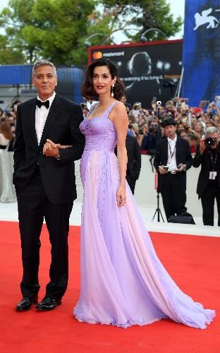 Amal Clooney nails evening glamour in blush pink Prada