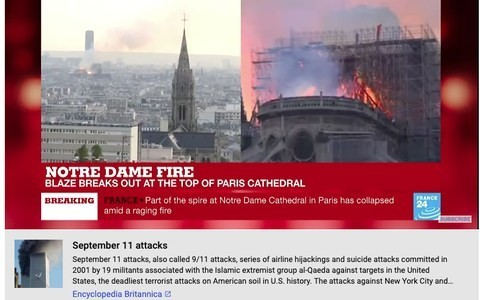 YouTube added 9/11 conspiracy theory tags to Notre Dame videos