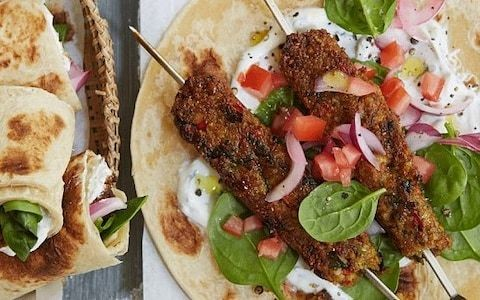 Grilled chickpea seekh kebab wrap recipe
