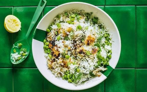 Persian rice with dill and broad beans