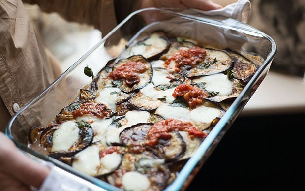Baked aubergine with tomato and basil recipe