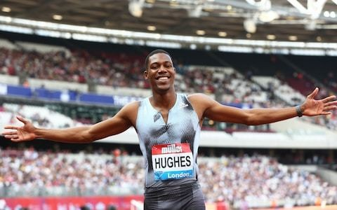 Britain's Zharnel Hughes finishes second after sluggish start in men's 100m final at Anniversary Games