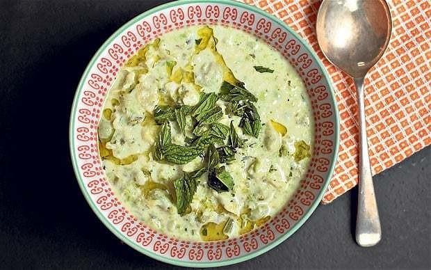 Broad bean, yogurt and mint soup recipe