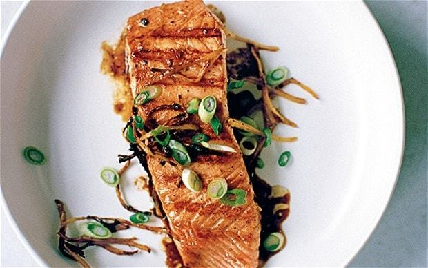 Chargrilled salmon with ginger, black pepper and fish sauce recipe