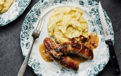 Pork sausages with three-mustard mash recipe