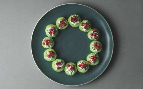 Lorraine Pascale's cucumber and feta bites with dill and pomegranate