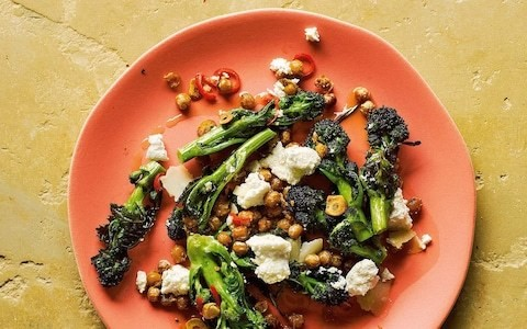 Garlicky chickpeas with roast purple-sprouting broccoli, chilli and ricotta recipe