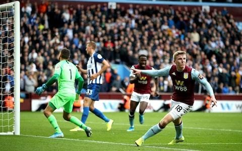 Aston Villa leave it late to see off dogged 10-man Brighton