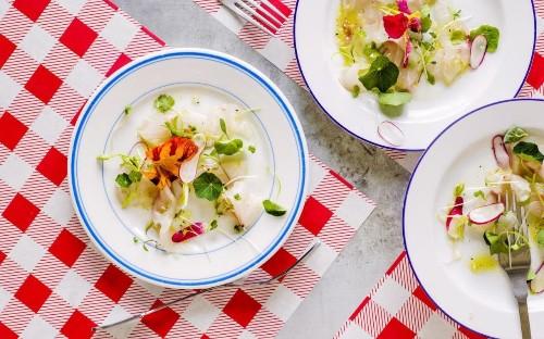 Raw seabass, shaved radishes and nasturtiums