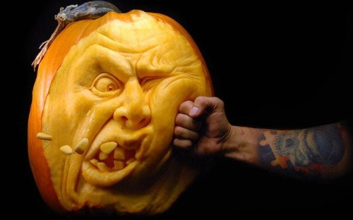 Halloween Jack O'Lanterns carved out of pumpkins by Ray Villafane and Andy Bergholtz - Telegraph